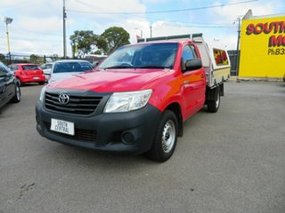 2013 Toyota Hilux TGN16R MY14 Workmate Red 5 Speed Manual Cab Chassis.