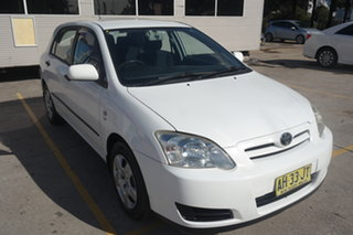 2005 Toyota Corolla ZZE122R 5Y Ascent Sport White 4 Speed Automatic Hatchback.