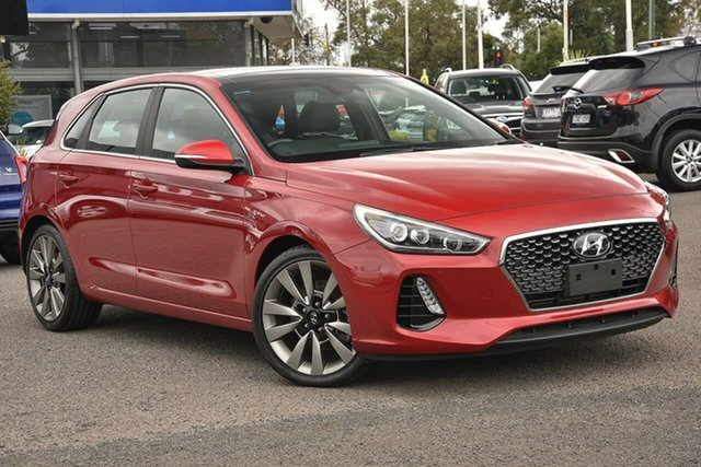 Used Hyundai i30 PD MY18 SR D-CT Premium Nunawading, 2018 Hyundai i30 PD MY18 SR D-CT Premium Red 7 Speed Sports Automatic Dual Clutch Hatchback