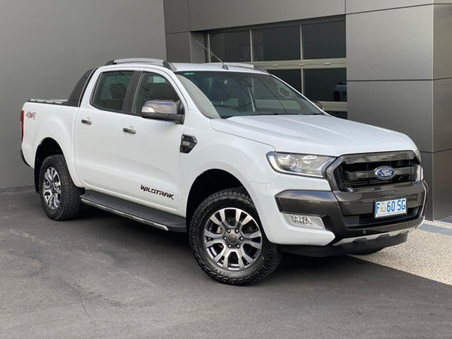 Used Ford Ranger PX MkII Wildtrak Double Cab Hobart, 2017 Ford Ranger PX MkII Wildtrak Double Cab White 6 Speed Manual Utility
