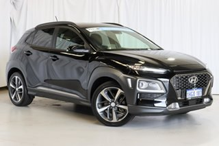 2018 Hyundai Kona OS MY18 Highlander D-CT AWD Black 7 Speed Sports Automatic Dual Clutch Wagon.