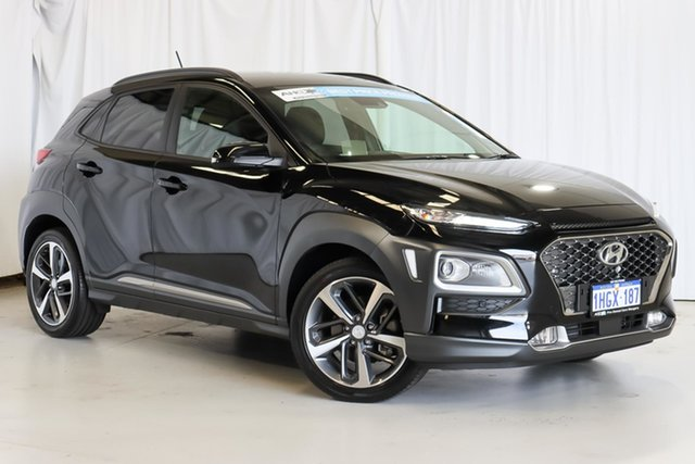 Used Hyundai Kona OS MY18 Highlander D-CT AWD Wangara, 2018 Hyundai Kona OS MY18 Highlander D-CT AWD Black 7 Speed Sports Automatic Dual Clutch Wagon