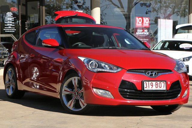 Used Hyundai Veloster FS2 + Coupe Toowoomba, 2012 Hyundai Veloster FS2 + Coupe Veloster Red 6 Speed Manual Hatchback