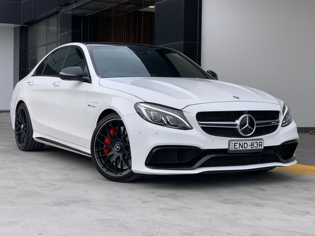 Used Mercedes-Benz C-Class W205 C63 AMG SPEEDSHIFT MCT S Liverpool, 2015 Mercedes-Benz C-Class W205 C63 AMG SPEEDSHIFT MCT S White 7 Speed Sports Automatic Sedan