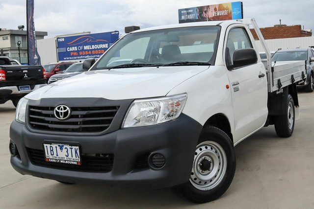 Used Toyota Hilux TGN16R MY14 Workmate 4x2 Coburg North, 2014 Toyota Hilux TGN16R MY14 Workmate 4x2 White 4 Speed Automatic Cab Chassis