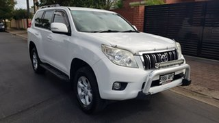 2011 Toyota Landcruiser Prado GRJ150R GXL (4x4) White & Apollo Blue 5 Speed Sequential Auto Wagon.
