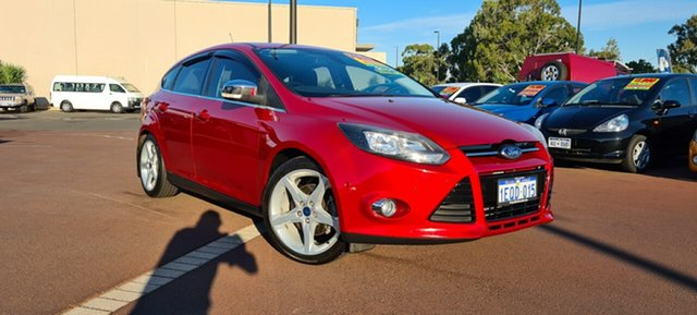 Used Ford Focus LW Titanium PwrShift East Bunbury, 2012 Ford Focus LW Titanium PwrShift Red 6 Speed Sports Automatic Dual Clutch Hatchback