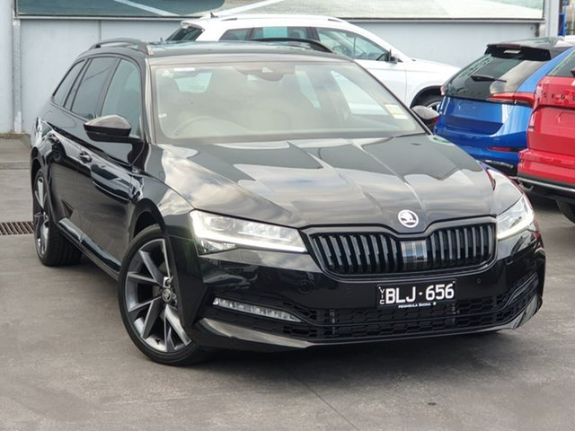 Demo Skoda Superb NP MY21 206TSI DSG SportLine Seaford, 2020 Skoda Superb NP MY21 206TSI DSG SportLine Black 6 Speed Sports Automatic Dual Clutch Wagon