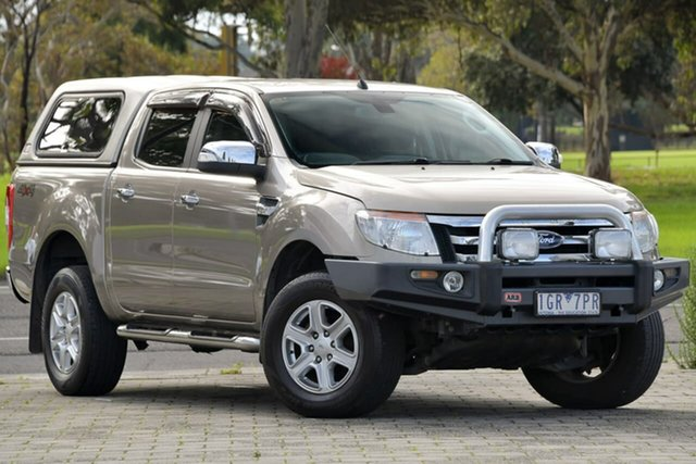 Used Ford Ranger PX XLT Double Cab Dandenong, 2012 Ford Ranger PX XLT Double Cab Gold 6 Speed Sports Automatic Utility