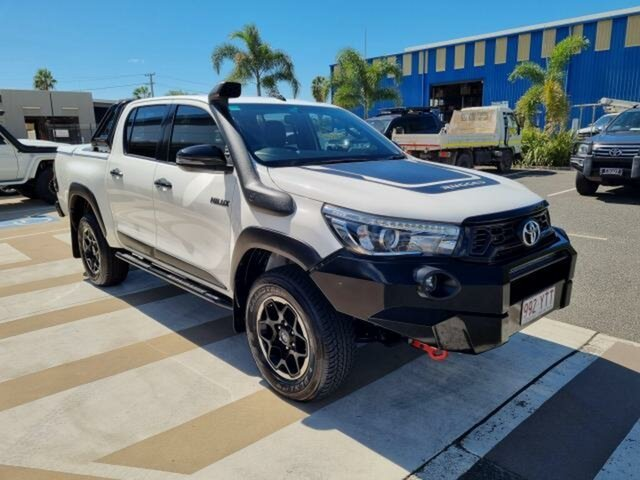 Pre-Owned Toyota Hilux GUN126R Rugged X Double Cab Gladstone, 2018 Toyota Hilux GUN126R Rugged X Double Cab Glacier White 6 Speed Sports Automatic Utility