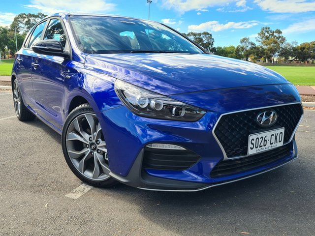 Demo Hyundai i30 PD.V4 MY21 N Line D-CT Nailsworth, 2020 Hyundai i30 PD.V4 MY21 N Line D-CT Intense Blue 7 Speed Sports Automatic Dual Clutch Hatchback