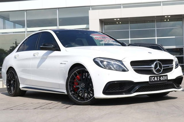 Used Mercedes-Benz C-Class W205 C63 AMG SPEEDSHIFT MCT S Liverpool, 2015 Mercedes-Benz C-Class W205 C63 AMG SPEEDSHIFT MCT S Polar White 7 Speed Sports Automatic Sedan