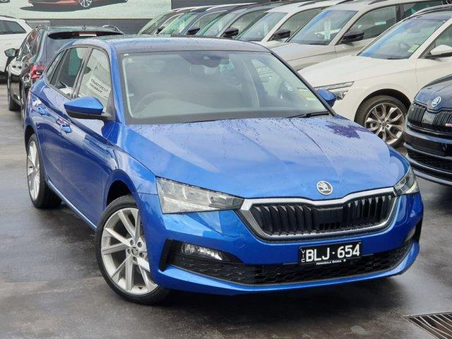 Demo Skoda Scala NW MY21 110TSI DSG Seaford, 2020 Skoda Scala NW MY21 110TSI DSG Blue 7 Speed Sports Automatic Dual Clutch Hatchback