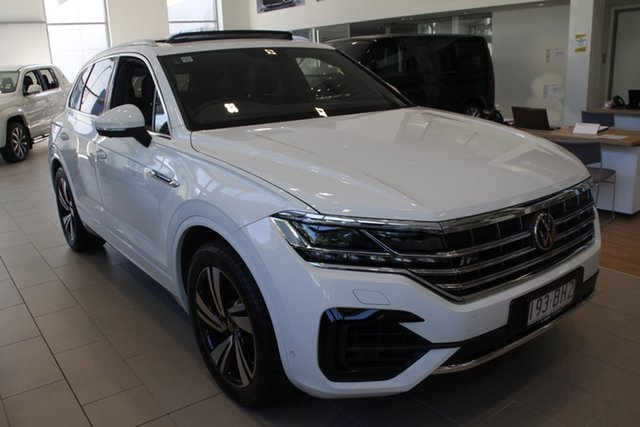 Demo Volkswagen Touareg CR MY21 210TDI Tiptronic 4MOTION R-Line Newstead, 2020 Volkswagen Touareg CR MY21 210TDI Tiptronic 4MOTION R-Line Pure White 8 Speed Sports Automatic