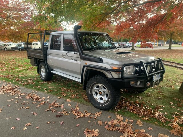 Used Toyota Landcruiser VDJ79R MY13 GXL Double Cab Launceston, 2013 Toyota Landcruiser VDJ79R MY13 GXL Double Cab Silver 5 Speed Manual Cab Chassis
