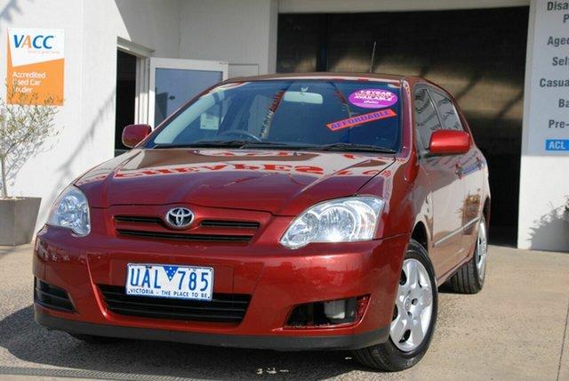 Used Toyota Corolla ZZE122R Ascent Wendouree, 2005 Toyota Corolla ZZE122R Ascent Red 4 Speed Automatic Sedan