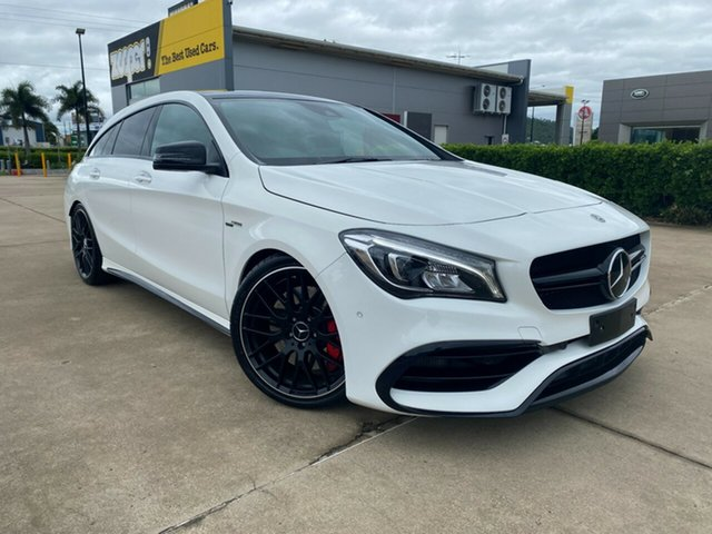 Used Mercedes-Benz CLA-Class X117 808+058MY CLA45 AMG Shooting Brake SPEEDSHIFT DCT 4MATIC Townsville, 2018 Mercedes-Benz CLA-Class X117 808+058MY CLA45 AMG Shooting Brake SPEEDSHIFT DCT 4MATIC White