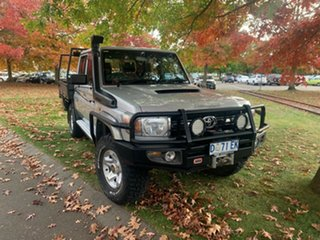 2013 Toyota Landcruiser VDJ79R MY13 GXL Double Cab Silver 5 Speed Manual Cab Chassis.