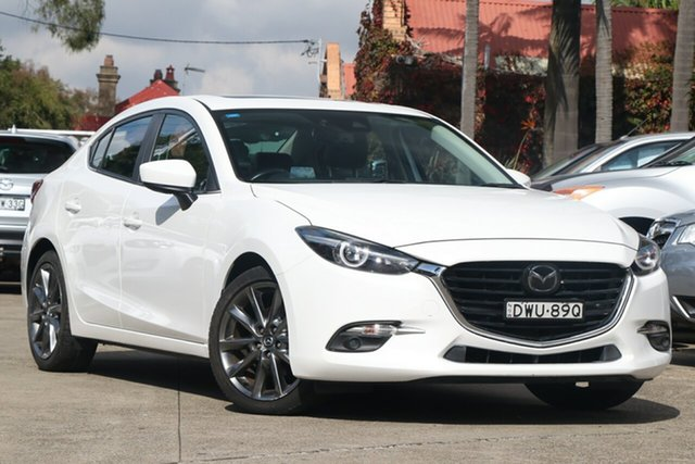 Pre-Owned Mazda 3 BN MY18 SP25 Astina (5Yr) Mosman, 2018 Mazda 3 BN MY18 SP25 Astina (5Yr) Snowflake White Pearl 6 Speed Automatic Sedan