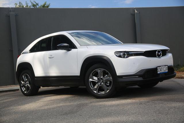 Demo Mazda MX-30 DR2W7A G20e SKYACTIV-Drive Astina Hindmarsh, 2021 Mazda MX-30 DR2W7A G20e SKYACTIV-Drive Astina Arctic White 6 Speed Sports Automatic Wagon