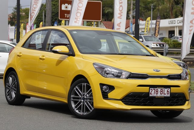Demo Kia Rio YB MY21 Sport Mount Gravatt, 2021 Kia Rio YB MY21 Sport Mighty Yellow 6 Speed Automatic Hatchback