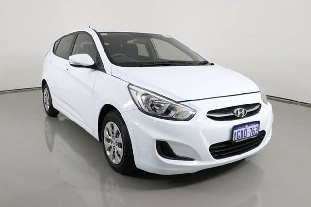 Used Hyundai Accent RB3 MY16 Active Bentley, 2016 Hyundai Accent RB3 MY16 Active White 6 Speed CVT Auto Sequential Hatchback