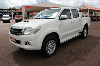 2014 Toyota Hilux KUN26R MY14 SR5 Double Cab Glacier White 5 Speed Automatic Utility.