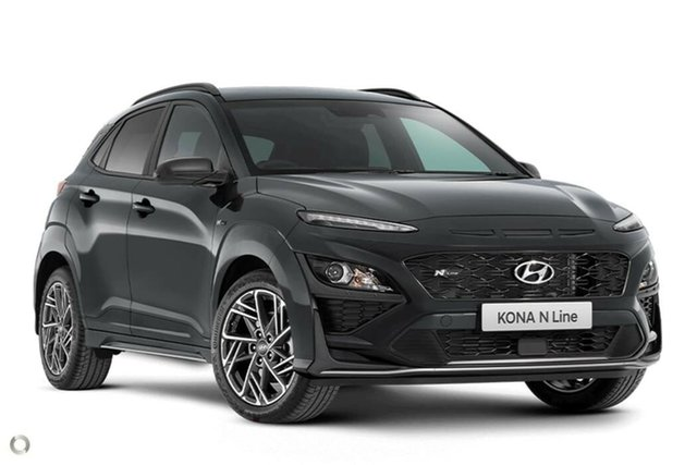 New Hyundai Kona Os.v4 MY21 N-Line D-CT AWD Nailsworth, 2021 Hyundai Kona Os.v4 MY21 N-Line D-CT AWD Dark Knight 7 Speed Sports Automatic Dual Clutch Wagon