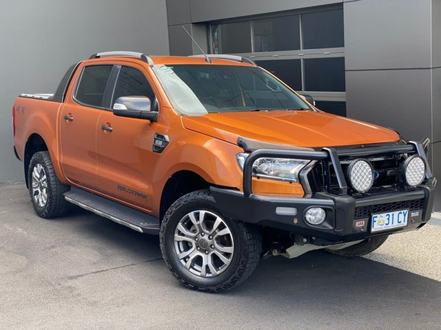Used Ford Ranger PX MkII Wildtrak Double Cab Hobart, 2016 Ford Ranger PX MkII Wildtrak Double Cab Orange 6 Speed Sports Automatic Utility