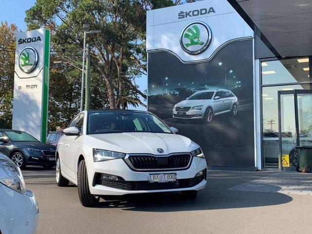 Demo Skoda Scala NW MY21 110TSI DSG Botany, 2021 Skoda Scala NW MY21 110TSI DSG White 7 Speed Sports Automatic Dual Clutch Hatchback