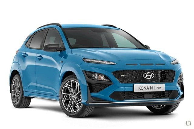 New Hyundai Kona Os.v4 MY21 N-Line D-CT AWD Nailsworth, 2021 Hyundai Kona Os.v4 MY21 N-Line D-CT AWD Surfy Blue 7 Speed Sports Automatic Dual Clutch Wagon