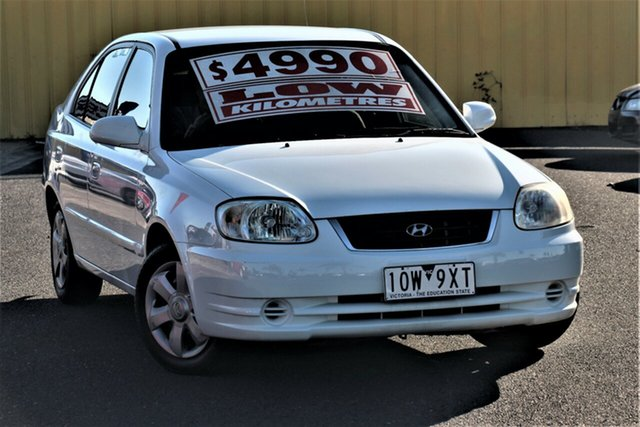 Used Hyundai Accent LC MY04 GL Cheltenham, 2006 Hyundai Accent LC MY04 GL White 4 Speed Automatic Hatchback