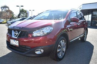 2012 Nissan Dualis J107 Series 3 MY12 +2 Hatch X-tronic 2WD Ti Red 6 Speed Constant Variable.