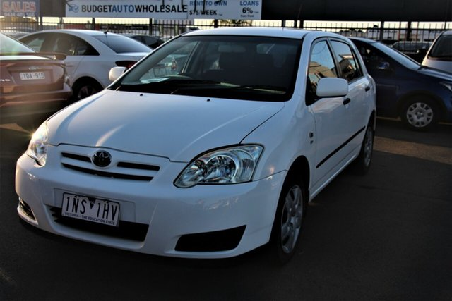 Used Toyota Corolla ZZE122R 5Y Ascent Cheltenham, 2004 Toyota Corolla ZZE122R 5Y Ascent White 4 Speed Automatic Hatchback