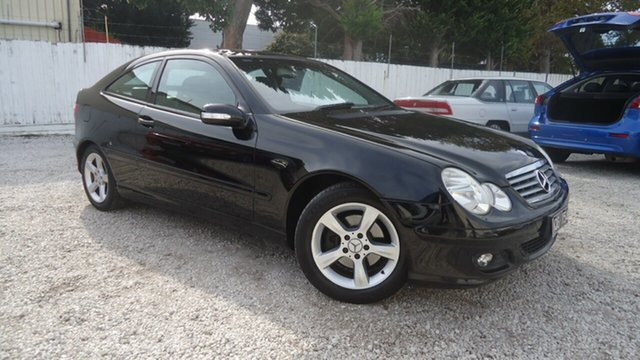 Used Mercedes-Benz C-Class CL203 MY2003 C200 Kompressor Sports Seaford, 2004 Mercedes-Benz C-Class CL203 MY2003 C200 Kompressor Sports Black 5 Speed Automatic Coupe