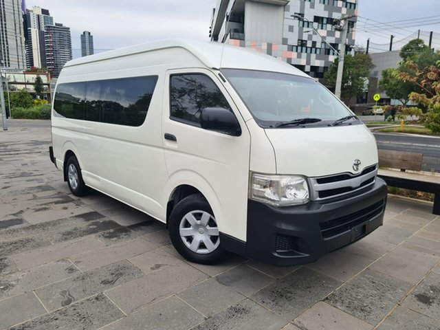 Used Toyota HiAce KDH223R MY12 Commuter High Roof Super LWB South Melbourne, 2012 Toyota HiAce KDH223R MY12 Commuter High Roof Super LWB White 4 Speed Automatic Bus
