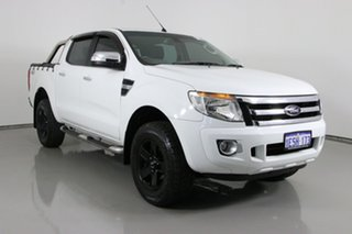 2014 Ford Ranger PX XLT 3.2 (4x4) White 6 Speed Manual Double Cab Pick Up.
