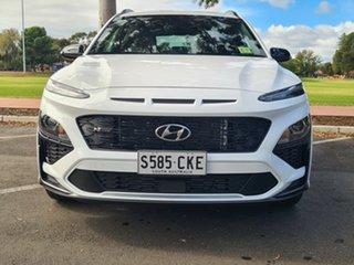 2021 Hyundai Kona Os.v4 MY21 N-Line D-CT AWD Atlas White 7 Speed Sports Automatic Dual Clutch Wagon