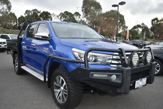 Used Toyota Hilux GUN126R SR5 Double Cab Wantirna South, 2015 Toyota Hilux GUN126R SR5 Double Cab Blue 6 Speed Manual Utility