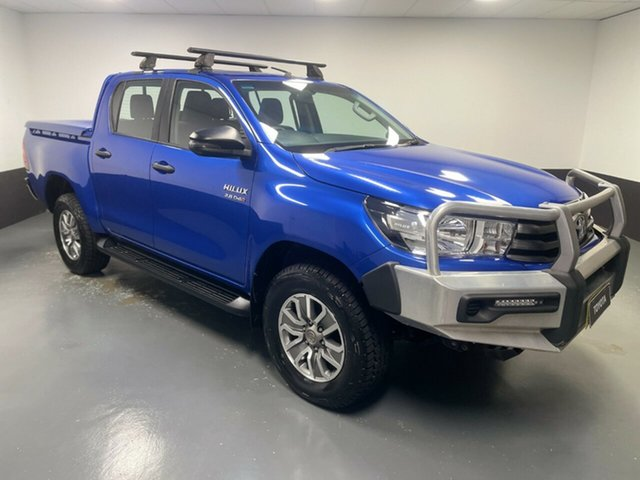 Used Toyota Hilux GUN126R SR Double Cab Hamilton, 2017 Toyota Hilux GUN126R SR Double Cab Blue 6 Speed Sports Automatic Cab Chassis