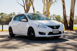 2013 Nissan Pulsar C12 ST-S White Continuous Variable Hatchback.