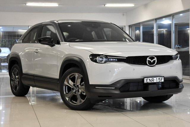 Demo Mazda MX-30 DR2W7A G20e SKYACTIV-Drive Astina Waitara, 2021 Mazda MX-30 DR2W7A G20e SKYACTIV-Drive Astina White 6 Speed Sports Automatic Wagon