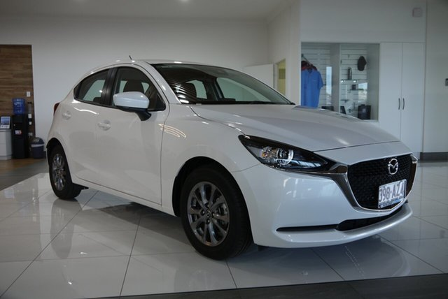 Demo Mazda 2 DJ2HAA G15 SKYACTIV-Drive Pure Bundaberg, 2021 Mazda 2 DJ2HAA G15 SKYACTIV-Drive Pure White 6 Speed Sports Automatic Hatchback