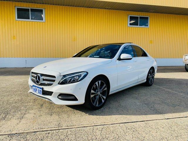 Used Mercedes-Benz C-Class W205 C200 7G-Tronic + Canning Vale, 2014 Mercedes-Benz C-Class W205 C200 7G-Tronic + White 7 Speed Sports Automatic Sedan