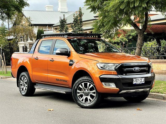 Used Ford Ranger PX MkII 2018.00MY Wildtrak Double Cab Hyde Park, 2018 Ford Ranger PX MkII 2018.00MY Wildtrak Double Cab Orange 6 Speed Sports Automatic Utility