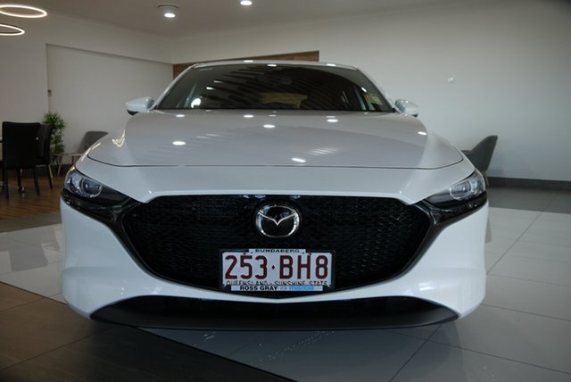 Demo Mazda 3 BP2H7A G20 SKYACTIV-Drive Pure Bundaberg, 2021 Mazda 3 BP2H7A G20 SKYACTIV-Drive Pure White 6 Speed Sports Automatic Hatchback