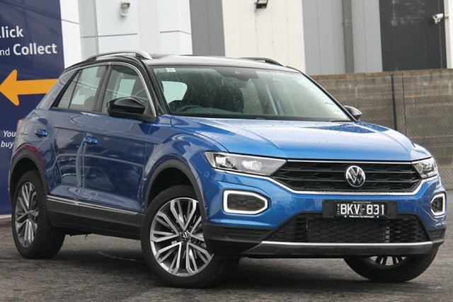 Demo Volkswagen T-ROC A1 MY21 110TSI Style Port Melbourne, 2020 Volkswagen T-ROC A1 MY21 110TSI Style Blue 8 Speed Sports Automatic Wagon