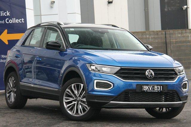 Demo Volkswagen T-ROC A1 MY21 110TSI Style Port Melbourne, 2020 Volkswagen T-ROC A1 MY21 110TSI Style Blue 8 Speed Sports Automatic Wagon