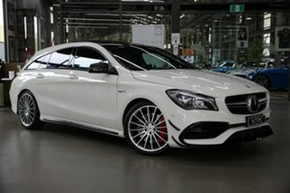 2017 Mercedes-Benz CLA-Class X117 807MY CLA45 AMG Shooting Brake SPEEDSHIFT DCT 4MATIC White 7 Speed.