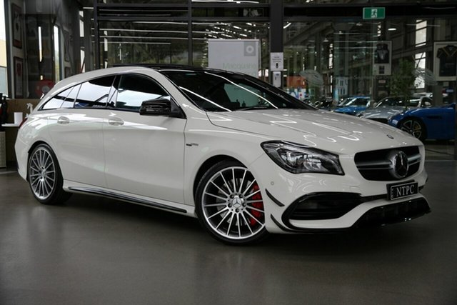 Used Mercedes-Benz CLA-Class X117 807MY CLA45 AMG Shooting Brake SPEEDSHIFT DCT 4MATIC North Melbourne, 2017 Mercedes-Benz CLA-Class X117 807MY CLA45 AMG Shooting Brake SPEEDSHIFT DCT 4MATIC White 7 Speed